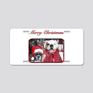 christmas boxer dogs Aluminum License Plate