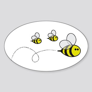 Bees!! Oval Sticker