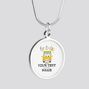 Custom First Day Silver Round Necklace