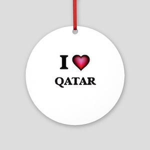 I love Qatar Round Ornament