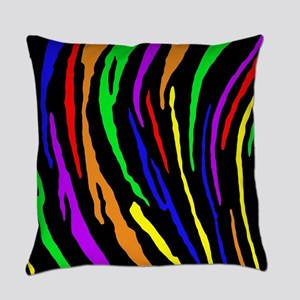 Rainbow Tiger Stripes Everyday Pillow