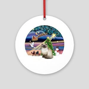 Xmas Magic & Himilayan Cat Ornament (Round)