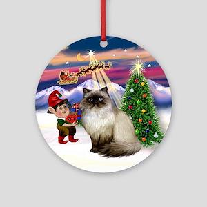 Santa's Take Off & Himilayan Cat Ornament (Round)