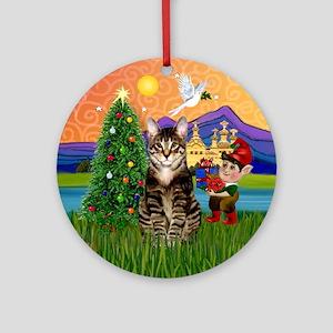 Xmas Fantasy & Tabby Cat Ornament (Round)