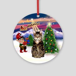Santa's Take off & Tabby Cat Ornament (Round)