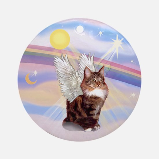 Maine Coon Cat Angel Ornament (Round)