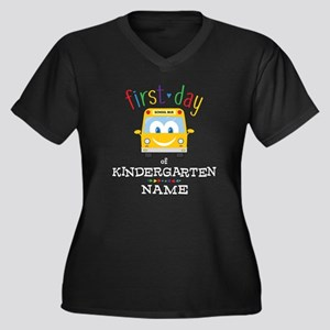 Custom Kinde Women's Plus Size V-Neck Dark T-Shirt