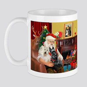 Santa's two Scotties (P1) Mug