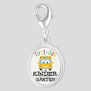 Kindergarten Silver Oval Charm
