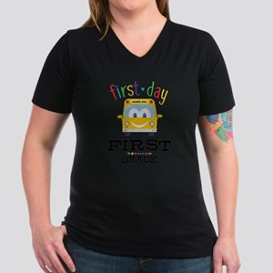 First Grade Women's V-Neck Dark T-Shirt