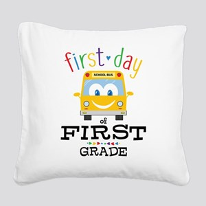 First Grade Square Canvas Pillow
