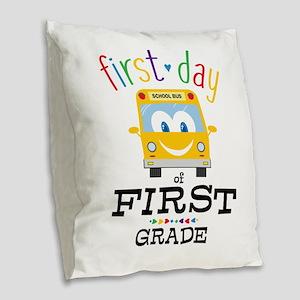 First Grade Burlap Throw Pillow