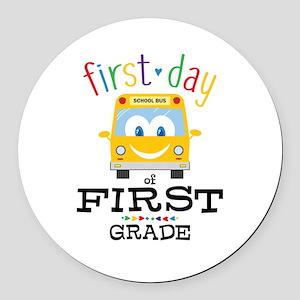 First Grade Round Car Magnet