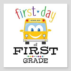 "First Grade Square Car Magnet 3"" x 3"""