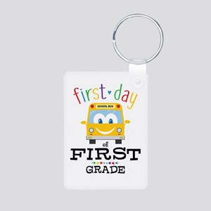 First Grade Aluminum Photo Keychain