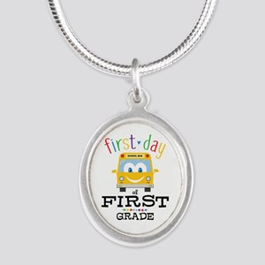 First Grade Silver Oval Necklace