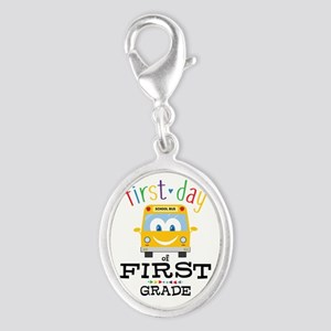 First Grade Silver Oval Charm