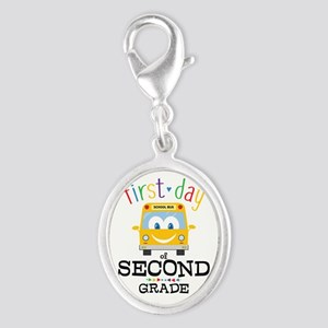 First Day Second Grade Silver Oval Charm
