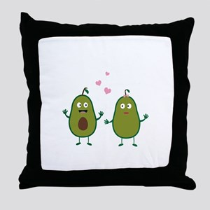 Avocados in love Throw Pillow