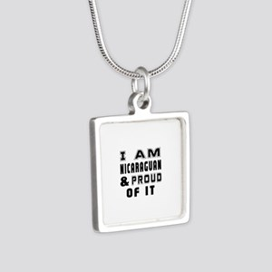 I Am Nicaraguan And Proud Silver Square Necklace