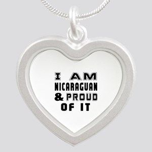 I Am Nicaraguan And Proud Of Silver Heart Necklace