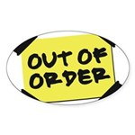 Out of Order Oval Sticker