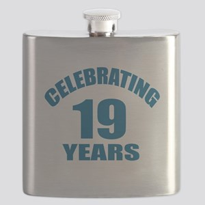 Celebrating 19 Years Birthday Designs Flask