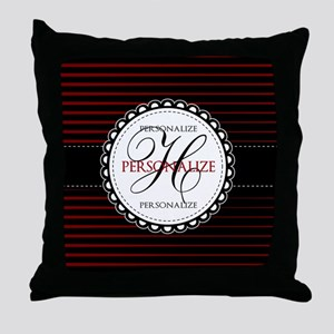 Monogrammed Red and White Stripes Throw Pillow