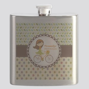 Vintage Floral Personalized Cute Bicycle Flask