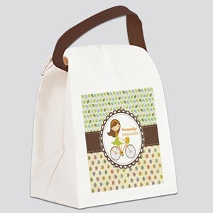 Vintage Floral Personalized Cute Canvas Lunch Bag