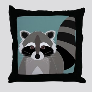 Raccoon Rascal Throw Pillow