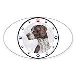 German Shorthair Pointer Dog Paws Oval Sticker