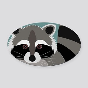 Raccoon Rascal Oval Car Magnet