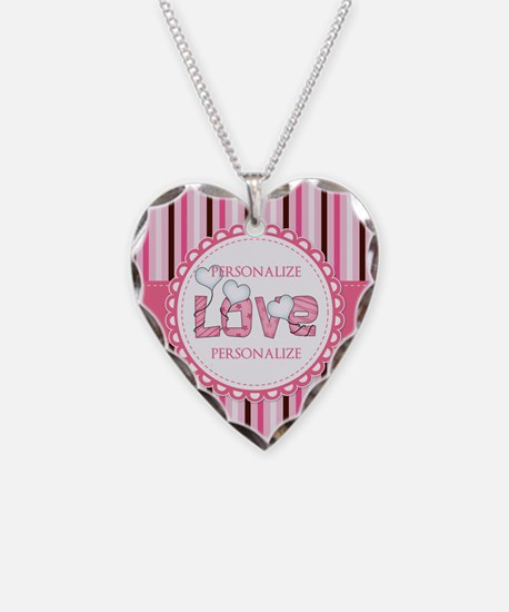 Chic Stripes Pink Love Person Necklace