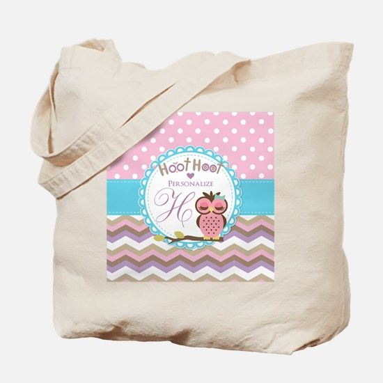 Owl Chevron Polka Dots Personalized Tote Bag