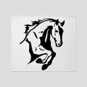 horse riding horses stalion Throw Blanket