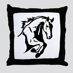 horse riding horses stalion Throw Pillow