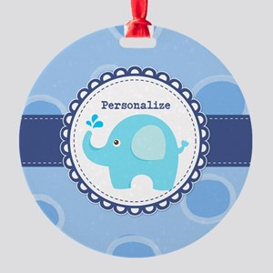 Elephant Baby Dots Personalized Round Ornament