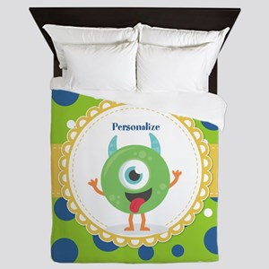 Silly Monster Friend Personalized Queen Duvet