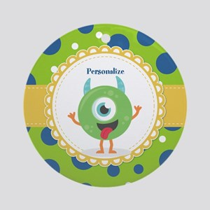 Silly Monster Friend Personalized Round Ornament