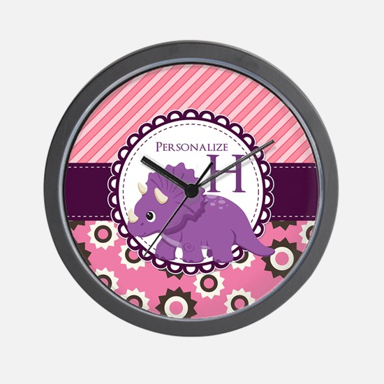 Monogrammed Dinosaur Gift Custom Wall Clock