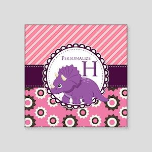 "Monogrammed Dinosaur Gift C Square Sticker 3"" x 3"""