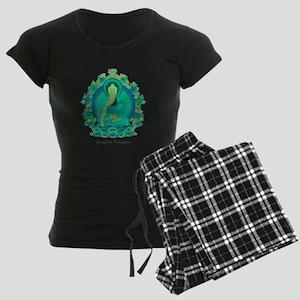 Teal psychedelic Buddha Women's Dark Pajamas
