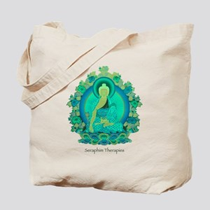 Teal psychedelic Buddha Tote Bag
