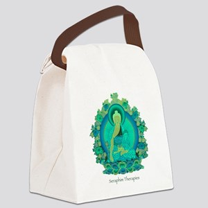 Teal psychedelic Buddha Canvas Lunch Bag