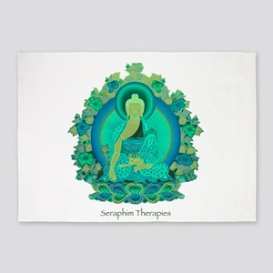 Teal psychedelic Buddha 5'x7'Area Rug