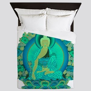 Teal psychedelic Buddha Queen Duvet