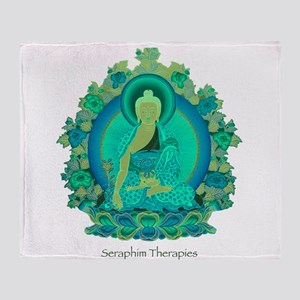 Teal psychedelic Buddha Throw Blanket