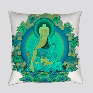 Teal psychedelic Buddha Everyday Pillow