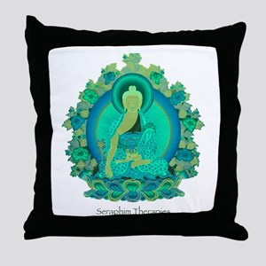Teal psychedelic Buddha Throw Pillow